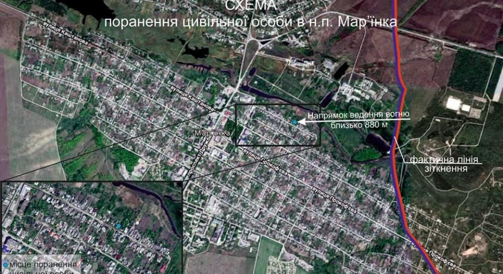 Во время обстрела боевиками Марьинки ранен мирный житель