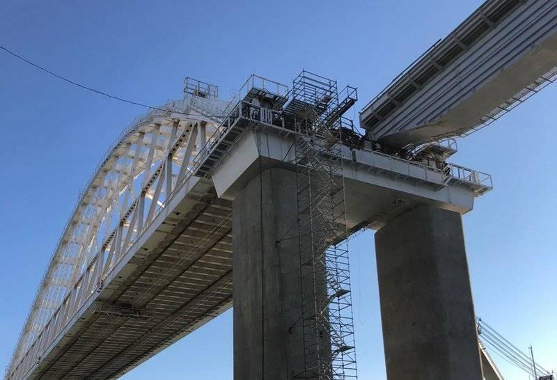Первый железнодорожный пролет соединили с аркой Крымского моста: фото и иллюстрации