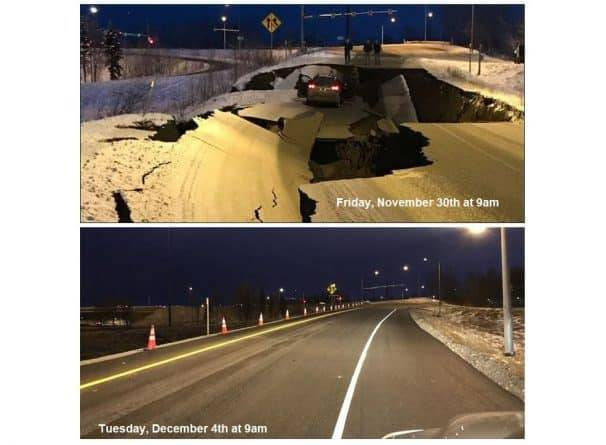Дорожные службы Аляски всего за 4 дня восстановили разрушенную землетрясением дорогу