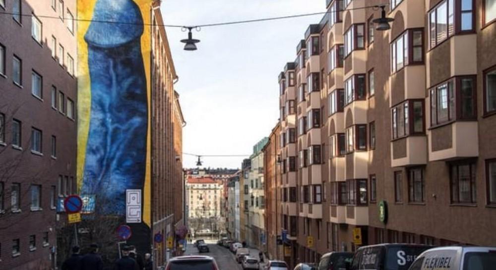 В Стокгольме мурал с изображением пениса зарисуют из-за жалоб соседей