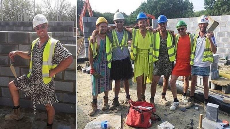 Изнывающие от жары каменщики обошли запрет на работу в шортах, нарядившись в платья