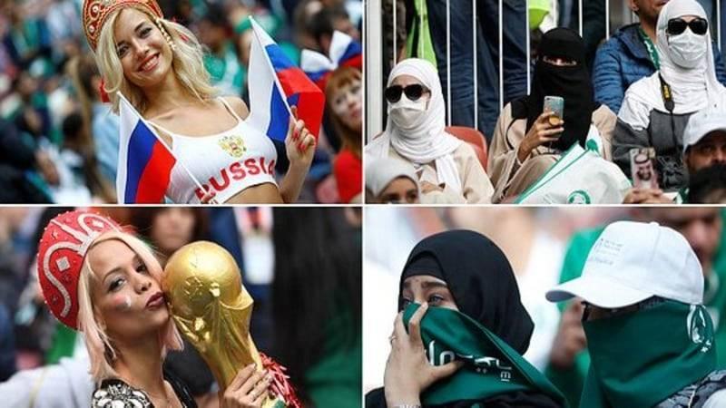 ЧМ 2018. Два лица футбольных болельщиц: гламурные россиянки и скромные арабки