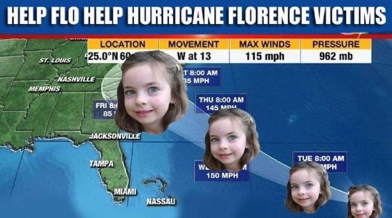 4-летняя девочка по имени Флоренс помогает пострадавшим от урагана-тезки (фото)