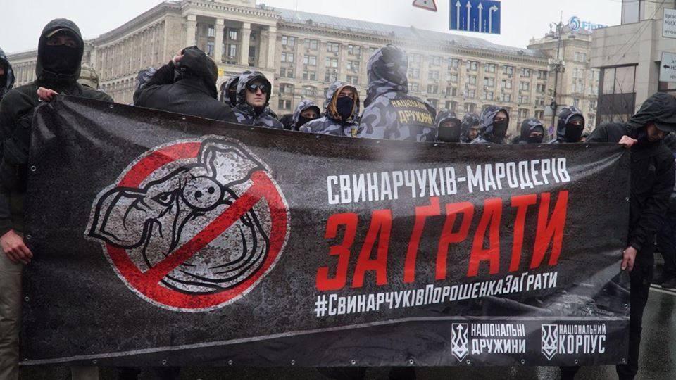 Нацики у Администрации Порошенко забросали полицаев свиньями: фото и иллюстрации
