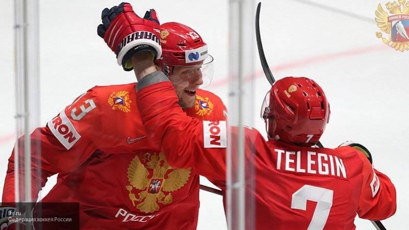 Сборная России по хоккею ведет счет в матче против Швеции в рамках ЧМ-2019