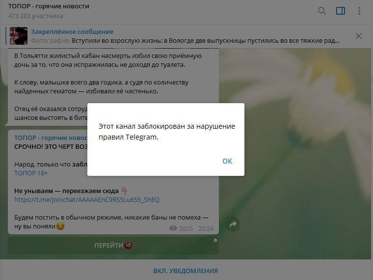 Телеграмм заблокировал российский канал на 430к подписчиков