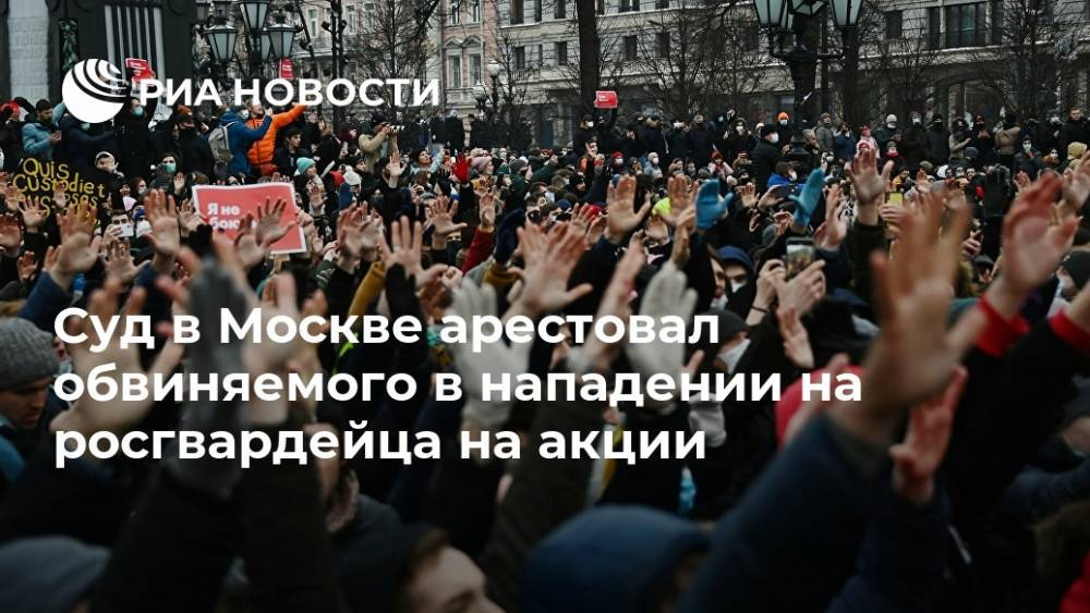 Суд в Москве арестовал обвиняемого в нападении на росгвардейца на акции