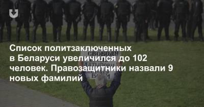 Список политзаключенных в Беларуси увеличился до 102 человек. Правозащитники назвали 9 новых фамилий