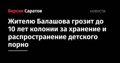 Жителю Балашова грозит до 10 лет колонии за хранение и распространение детского порно