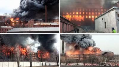 В пожаре на «Невской мануфактуре» погиб пожарный и обрушилась кровля
