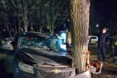 В Нижнекамске Chevrolet на скорости влетел в дерево