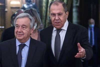 Раскрыты обсуждавшиеся на встрече Лаврова и Гутерриша темы